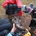 Сушим обувь в походе